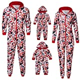 Sanahy Set Pyjama Christmas Nachtwäsche, Männer Frau Junge Mädchen Baby Pyjama Hoodie Cat Christmas Jumpsuit