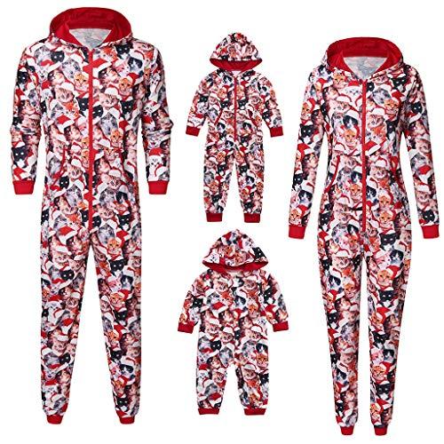 Holeider Weihnachten Pyjama Familie Jumpsuit Nachtwäsche Katzenabdruck Langarm Sweatshirt mit Kapuze und Reißverschluss Weihnachts Overall für Herren Damen Junge Mädchen Baby