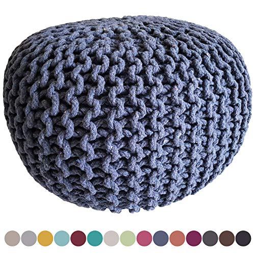 casamia Sitzhocker Strickhocker Sitzpouf Pouf Sitzpuff Strick Velours Bodenkissen viele Arten/Farben u. Maße Farbe ø 55 Terracotta Baumwolle