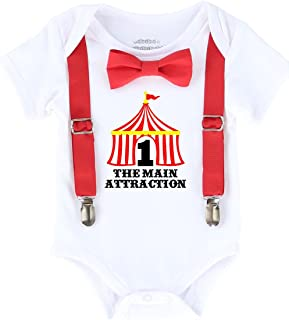 Circus First Birthday Outfit with Tent Bow Tie and Suspenders