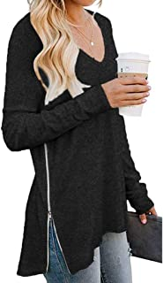 HomeMals Women`s Long Sleeve Round Neck Side T Shirts Tunic Dress Loose Casual Pullover Top with Side Split Zipper
