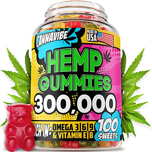 Hemp Gummies - 300,000, 3,000 per Gummy, 100PCS - Stress, Insomnia & Anxiety Relief - Made in USA - Tasty & Relaxing Herbal Gummies - Premium Extract - Mood & Immune Support - Omega 3-6-9 Complex
