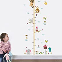 decalmile Animals Monkey Elephant Tree Branches Height Chart Kids Wall Stickers Removable Wall Decals Baby Nursery Childrens Bedroom Living Room Decoration