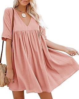 Bigyonger Womens A-Line Short Sleeve Tunic Dress V Neck Soild Babydoll Pleated Mini Dresses