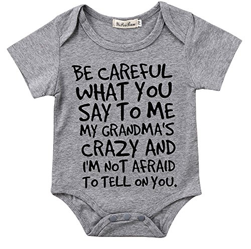 Baby Boy Girl be Careful What You say to me My Grandmas Crazy Bodysuit (70 (0-6M), Gray)