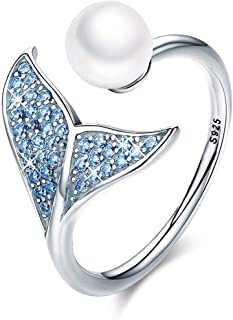 FOREVER QUEEN Mermaid Tail Ring, S925 Sterling Silver Dolphin Tail Adjustable Finger Ring for Women Girls Open Ring with Blue Cubic Zirconia& Shell Pearl BJ09067