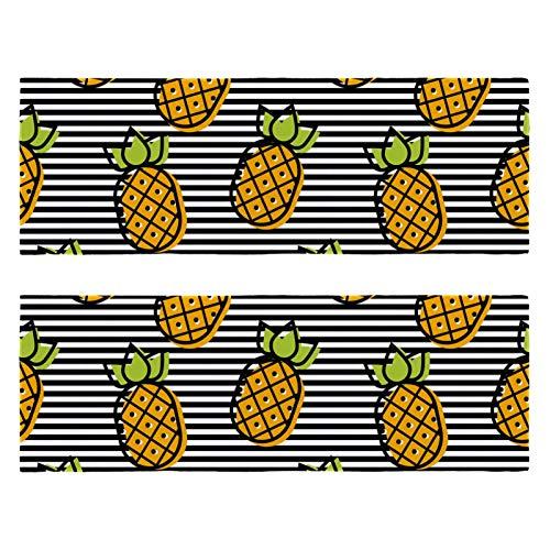 2 paquetes de toallas de yoga para gimnasio, camping, playa y viajes, fruta amarilla, piña, rayas negras, toalla de banco para cuello, secado rápido