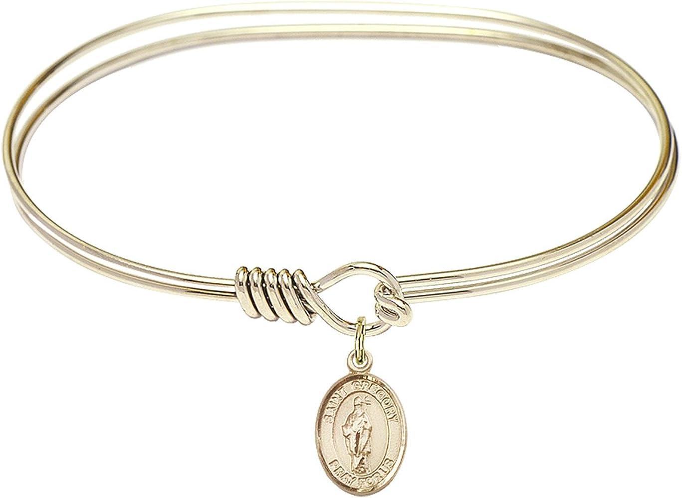 DiamondJewelryNY Eye Hook Bangle Bracelet with a St. Gregory The Great Charm.