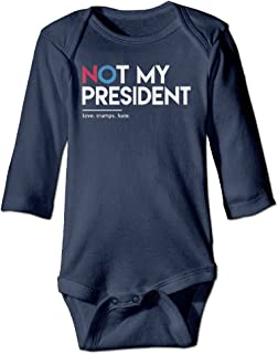 Not My President Love Trum Hate Baby Girls' and Boys' Long Sleeve Bodysuits Jumpsuit