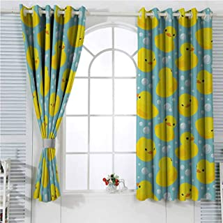 nursery decor Collection Room Darkening Curtains for Bedroom Cute Happy Baby Rubber Duck and Bubbles Cartoon Pattern Childhood Kids Decor Animal Art Bedroom Decor Blackout Shades W96 x L107 Inch Aqua