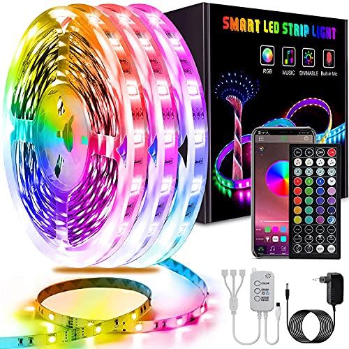 Ruban LED 15M, L8star Bluetooth Bande LED 5050 RGB 12V LED Lumineuse, Contrôlé par APP, IR Télécommande et Contrôleur pour Maison, Chambre, Television, Decoration D'armoire, Fête, Mariage