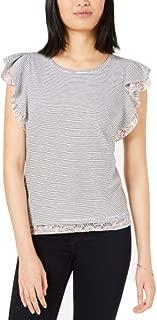Maison Jules Printed-Trim Flutter-Sleeve Top, Grey XL