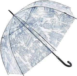 Household Bird Cage Umbrella Simple Transparent Umbrella Rain and Rain Umbrella Ultralight Long Straight Handle Umbrella Black, White, Blue HYBKY (Color : Blue)