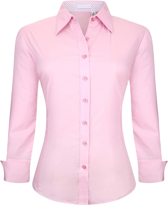 Monlando Womens Button Down Shirt Cotton Stretch, Regular Fit Long Sleeve Dress Shirts for Women