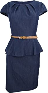 Connected Petite Belted Peplum Sheath DR Navy 6P