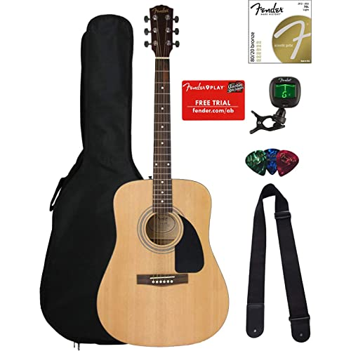 Fender FA-100 Dreadnought Acoustic Guitar - Natural Satin Bundle with Gig Bag, Tuner