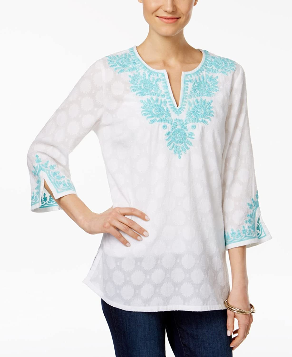 Charter Club Womens Embroidered Tunic Blouse