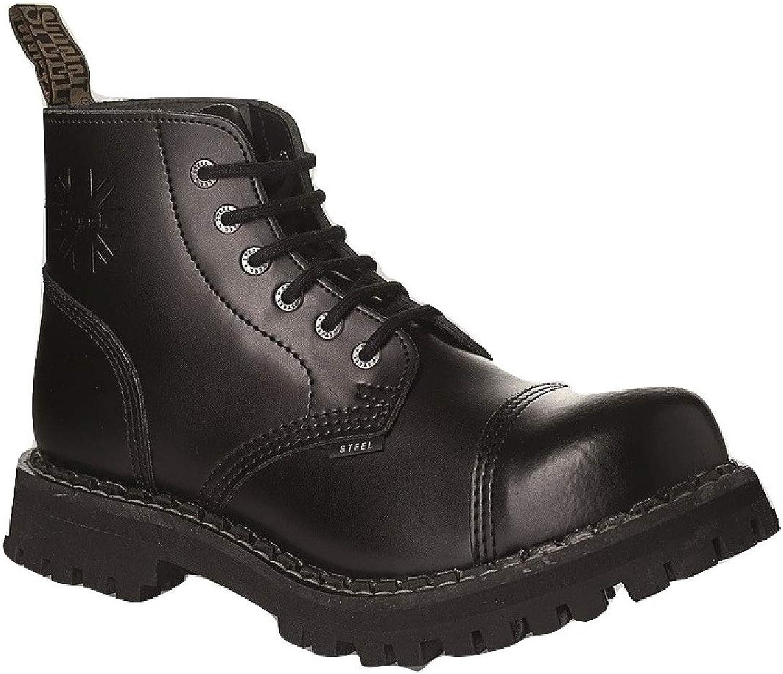 Steel Combat Boots Unisex Men's Ladies Leather Black 6 Eyelets Army Punk Toe Cap