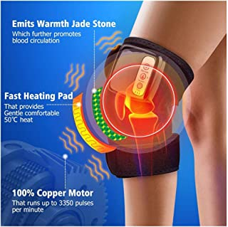 ErYao Electric Heated Massage Knee Brace Wrap for Men Women, Adjustable Heated and Massage Knee Heating Pad Thermal Heat Vibration Therapy Wrap for Arthritis Pain Relief Injury Recovery