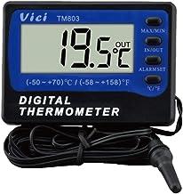 Instrumento de medición ectrónico unportable portátil TM803 Refrigerador/congelador Termómetro Termómetro Digital LCD Grande con Alarma -50 a 70 ℃ Termómetro de Superficie de Pared magnética congela