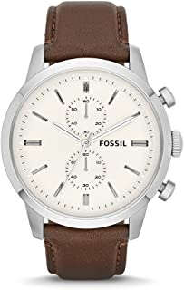 Fossil Mens FS4865 Townsman Stainless Steel Watch with Brown Leather Band