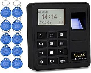YAVIS Sistema de control de acceso por huella digital Teclado Proximidad RFID biométrico 125 KHz Controlador de lector de tarjetas EM, con 10pcs ID llaveros Keyfobs