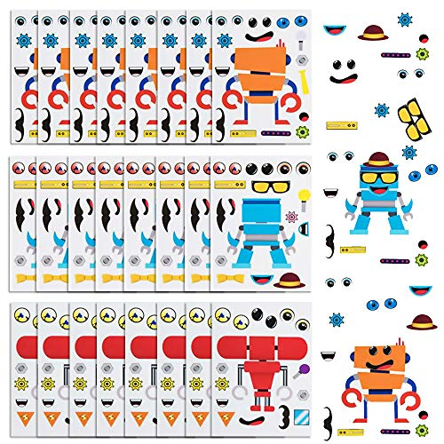 ArtCreativity Make Your Own Robot Character Sticker Assortment, Set of 24 Sheets, Unique Arts 'n Crafts Activity Supplies Kit for Kids, Sticker Prize, Fun Birthday Party Favor, Goodie Bag Filler