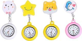 Hemobllo 4pcs Nurse Lapel Watch Doctor Clip on Retractable Cute Cartoon Pattern Silicone Cover Badge Fob Watch
