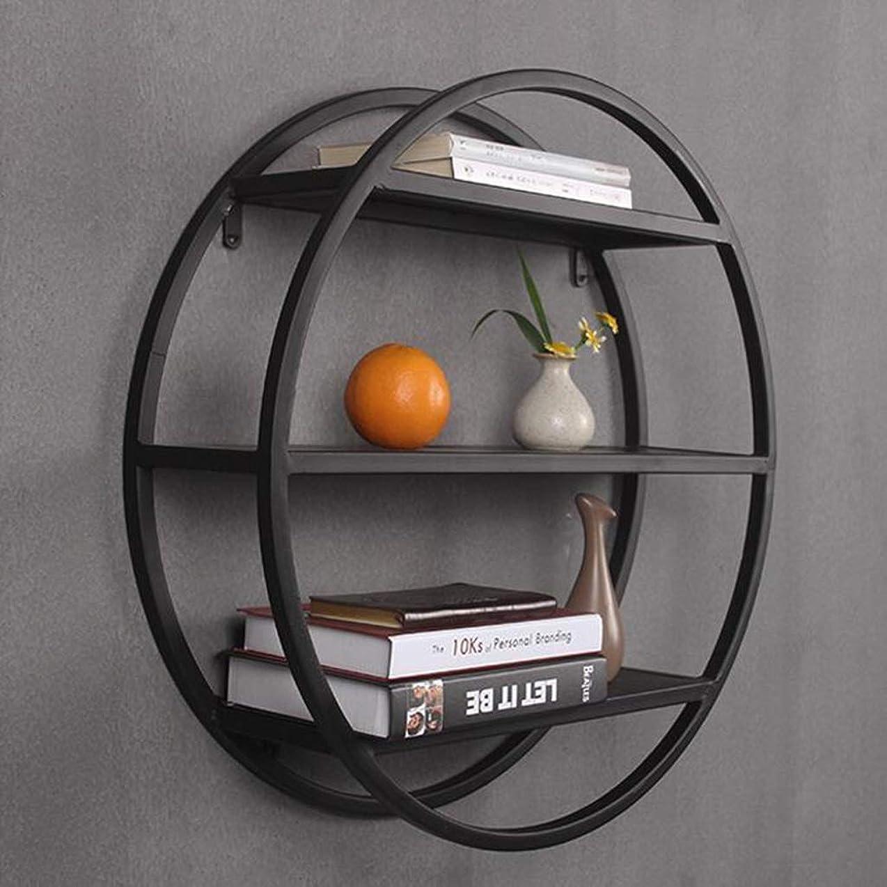 グラム読みやすさ促すHTTDIAN 北欧錬鉄製の壁の本棚/壁掛けラック/ラウンドホーム壁掛け装飾フレーム (Color : Black, Size : 40cm)
