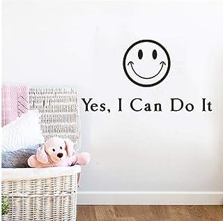 Smiley Vinyle Amovible Stickers Muraux Je Peux Faire Citations En Anglais Home Chambre Stickers Bureau Bureau Salle D'Étud...