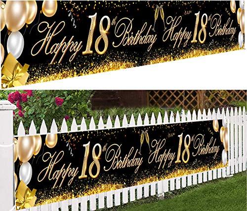 Banner für den 18 Geburtstag,18. Geburtstag Party Dekor,Hintergrund Banner Geburtstag,Schwarz Gold Deko Geburtstag,18 Jahre Banner,18 Jahre Geburtstag Deko