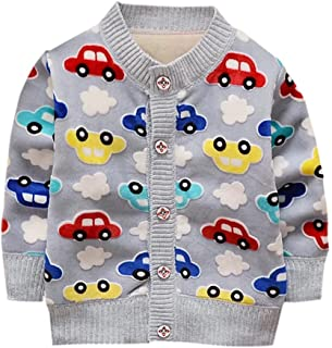 Toddler Baby Boy's Cartoon Car Soft Sweater Cardigan Outerwear Clothes