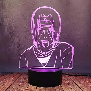 Luminoso Naruto Anime Figura Lámpara Uchiha Sasuke Bros Itachi 3D LED Lámpara de Escritorio Ilusión Luz de Noche Creative Kid Regalo Juguete Novedad Colorida Casa Decoración Moderna Iluminación