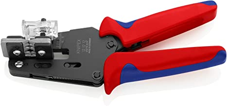Knipex 12 12 12 Precision Insulation Stripper with Adapted Blades Burnished with Multi-Component Grips, 195 mm