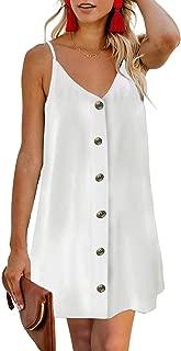 Women Summer Spaghetti Strap Button Down V Neck Sleeveless Casual Mini Dress