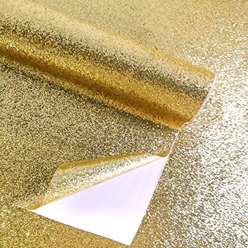 Self Adhesive Glitter Wallpaper for Walls Waterproof Textured Sparkle Film Peel and Stick Roll Art Background Craft Decor (17.7inX18ft, Gold)