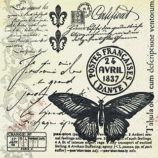 20 servetten Butter-Fly-mail – vlinderpost/vintage 33x33cm