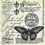 20 Servietten Butter-Fly-Mail – Schmetterlingspost/Vintage 33x33cm