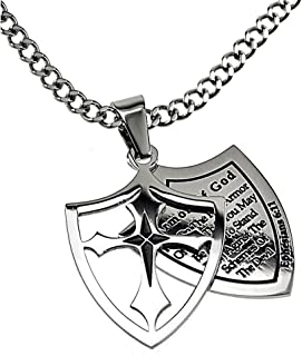North Arrow Shop Two Piece Cross Shield Armor of God Ephesians 6:11, Stainless Steel Curb Chain Men's Necklace
