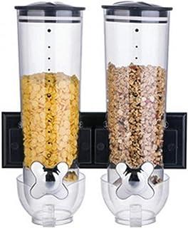 Lwieui Dispensadores de Alimentos Dispensador De Cereales De Doble Cereal Montado En La Pared Contenedor De Almacenamiento...