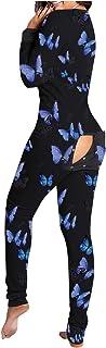AZHLUF Mono de Mujer Sexy Onesie Pijama Una Pieza, Ropa Dormir para Adultos,Mono con Solapa Abotonada Funcional Frontal, Mono con Solapa Trasera y botón Trasero (Color : Black, Size : XX-Large)