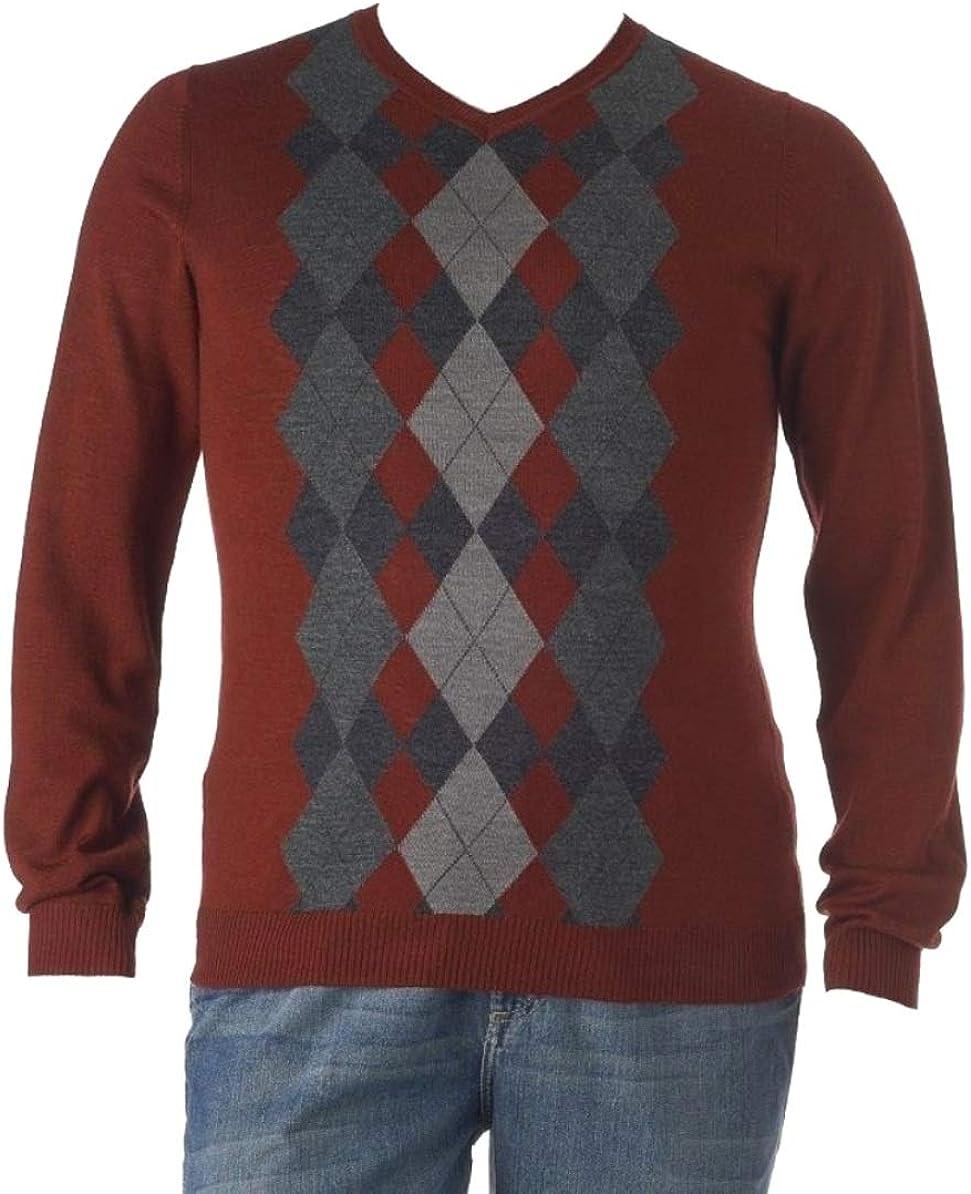 LIZ CLAIBORNE Apt 9 Argyle Merino Wool Blend Sweater V-Neck Big-Tall Red Grey