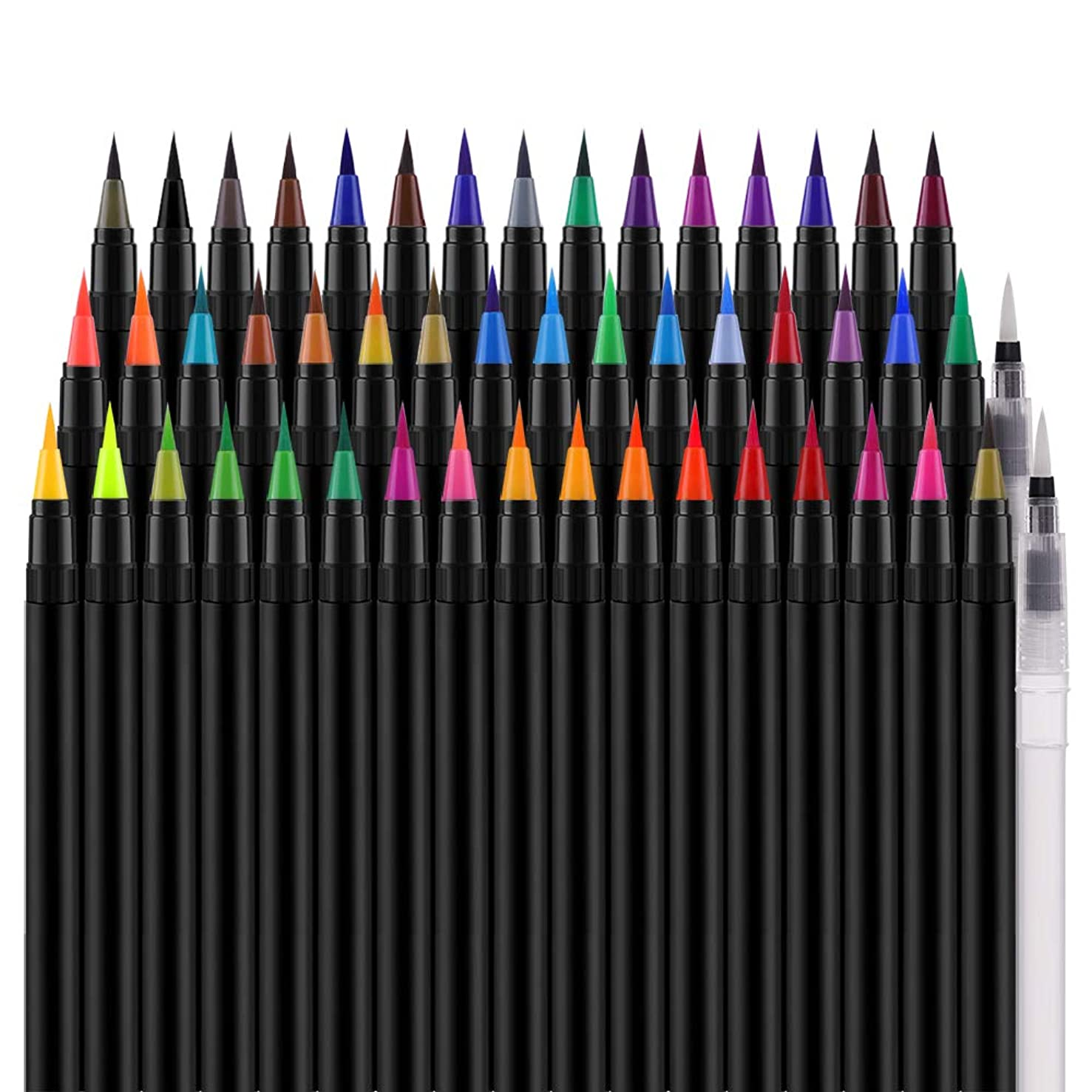 Watercolor Real Brush Markers Pen, ONE PIX 48 Colors for Water Based Drawing, Paint Markers Flexible Nylon Brush Tips for Adult and Kids Coloring, Comic, Calligraphy, Artists and Beginners