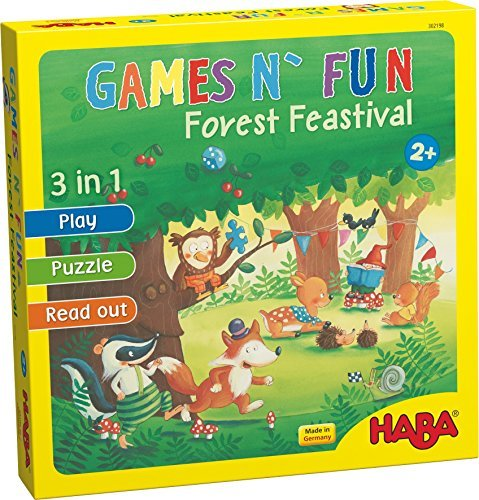 HABA Games N' Fun Forest Festival - Read Aloud Stories, Games & Puzzles Ages 2 + (Made in Germany) by HABA