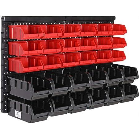 Deuba Estantería de bricolaje para pared 32 Piezas Organizador de herramientas Portaherramientas estático 30 Cajas apilables