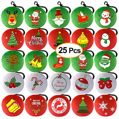 KUUQA 25 Pieces Christmas Plush Pillow Keychain Christmas Tree, Snowflake, Santa Claus for Xmas Tree Ornaments Hanging Decoration, Christmas Party Home Decoration Supplies