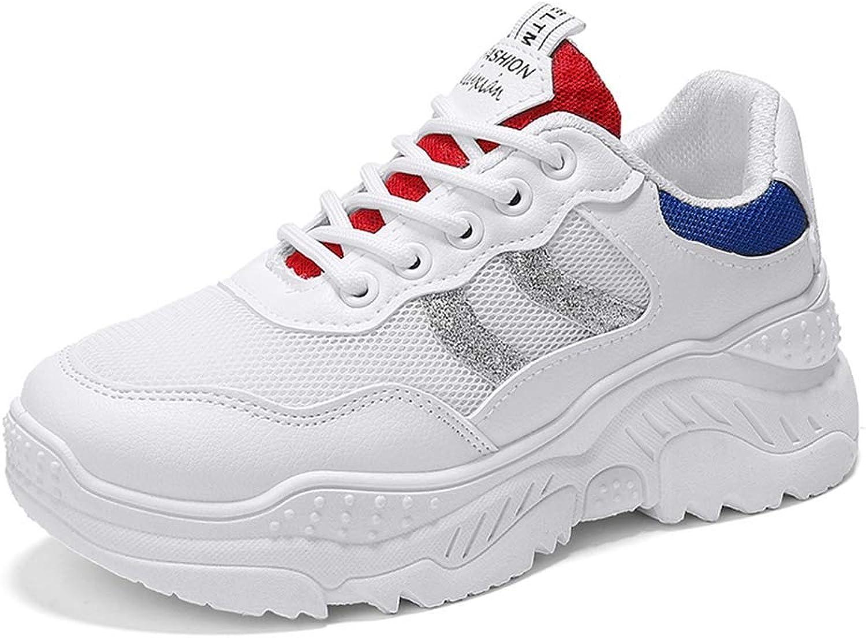 Gcanwea Lady High Heel Casual bluee White Sneakers Women Leisure Platform Wedges Height Increasing shoes White 8 M US