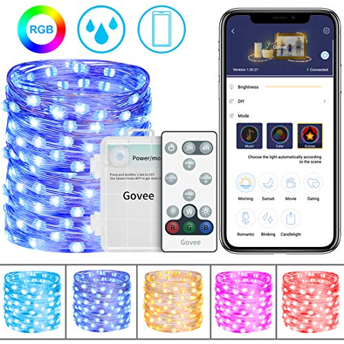Fairy String Light 16.4 Feet with 50 LEDs, Govee 16 Colors Changing Waterproof Fairy Light Battery Operated with Remote Control and Bluetooth APP for Home Patio Party Wedding Festivals- RGB