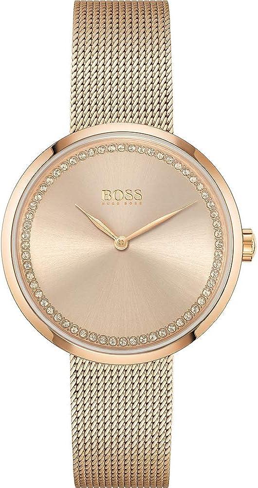 Hugo boss, orologio analogico al quarzo per  donna, c in acciaio inossidabile