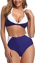 Jolefille Women Tie Knot Swimsuit Solid Bathing Suits Thong Bikini Set Push up Padded Swimwear